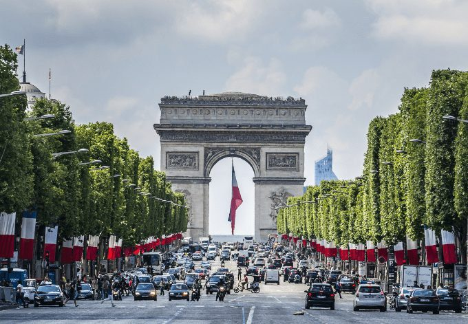 Arc de Triomphe de l'Etoile - one of the most famous monuments in Paris on French National Day (Bastille Day).