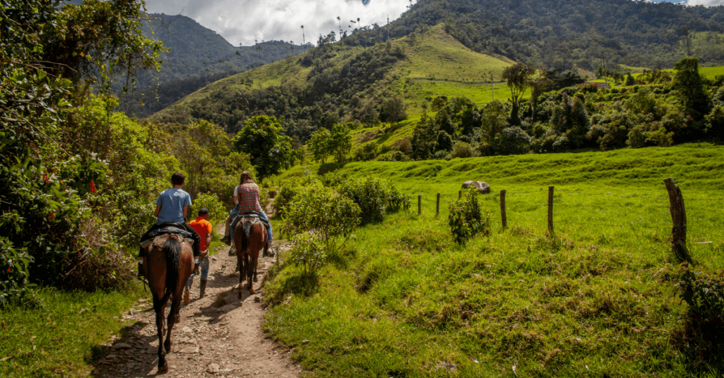 Two people riding horses on a forested hill in Colombia.