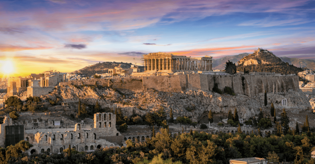 view of the acropolis in athens greece