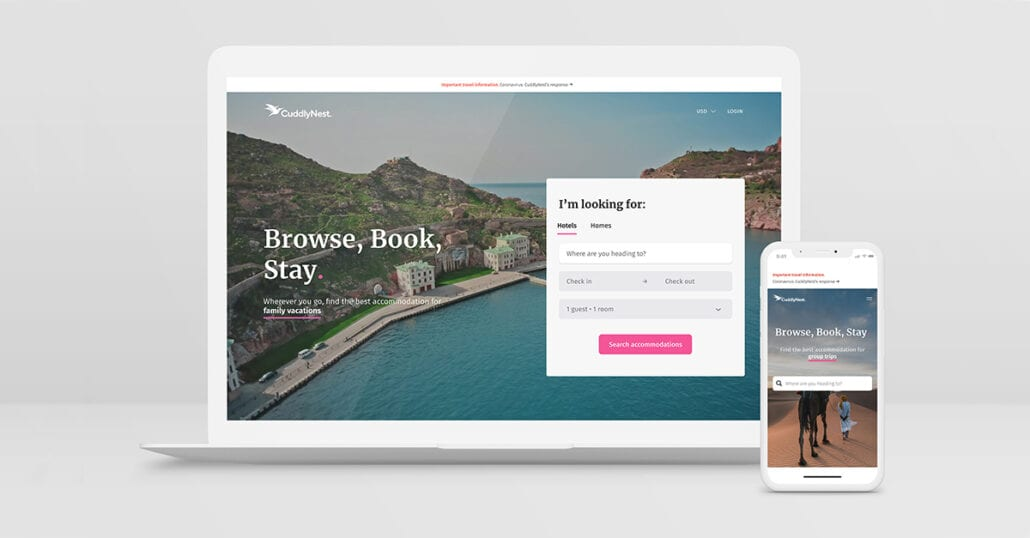 Cuddlynest Travel Accommodation l Booking Agency Homepage