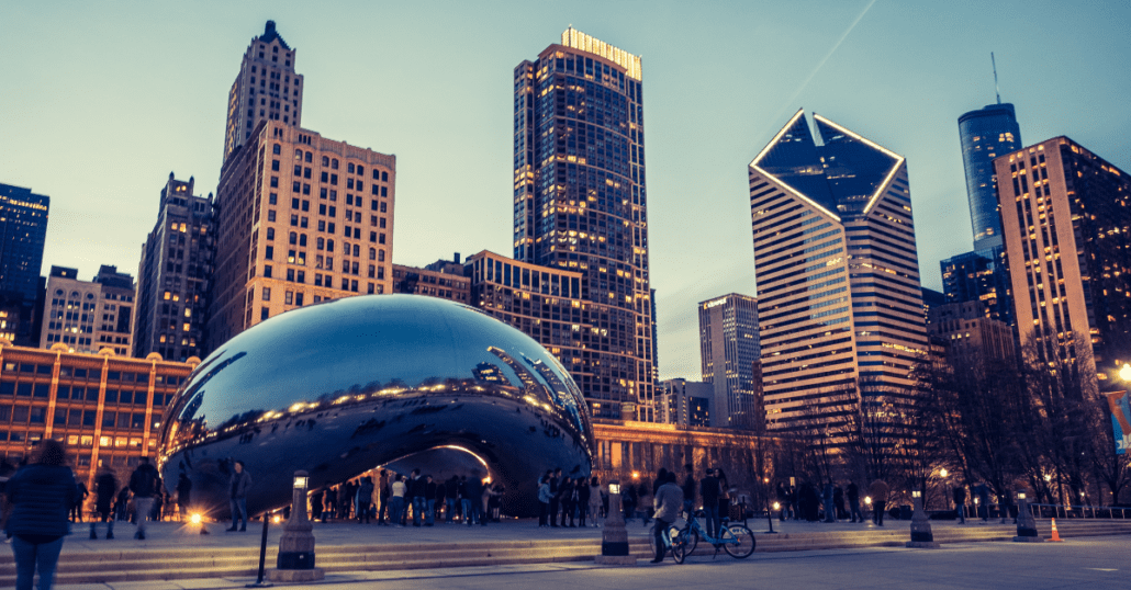 The Cloud Gate sculpture by Anish Kapoor placed at the AT&T Plaza at the Millennium Park in Chicago, Illinois.