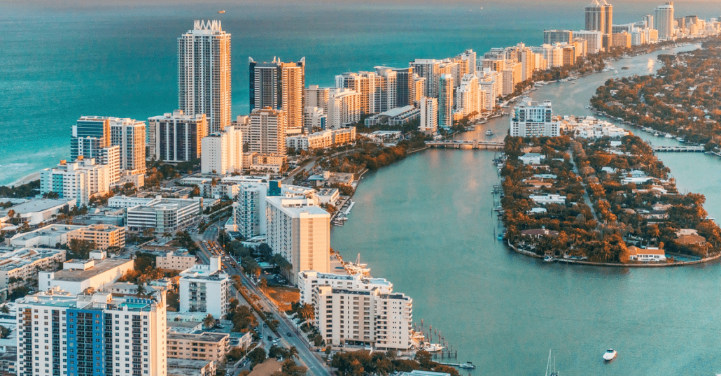 Aerial view of Miami's Downtown District over the Biscayne Bay lagoon.