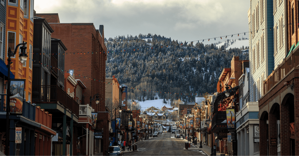 The Historic Main Street of Park City, Utah, on a cloudy winter day.
