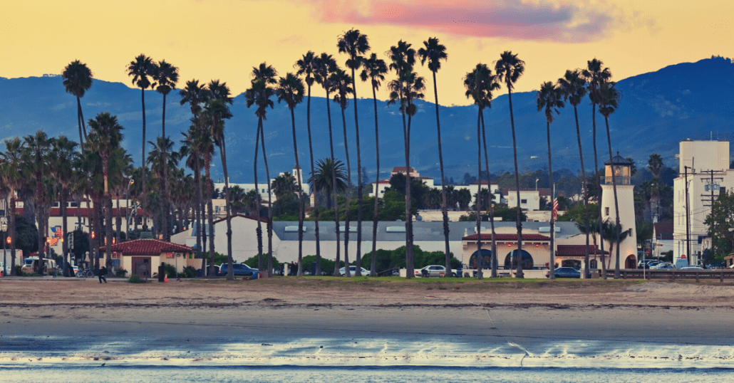 View of the Santa Barbara Waterfront during the sunset.