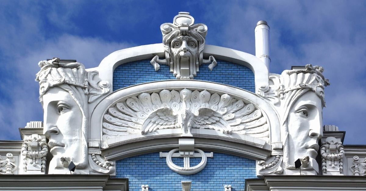Detail of a blue and white Art Nouveau buildin located at Elizabetes Street, in Riva.