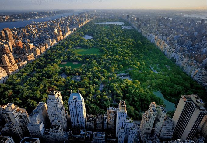 Aerial view of Central Park, in New York City.