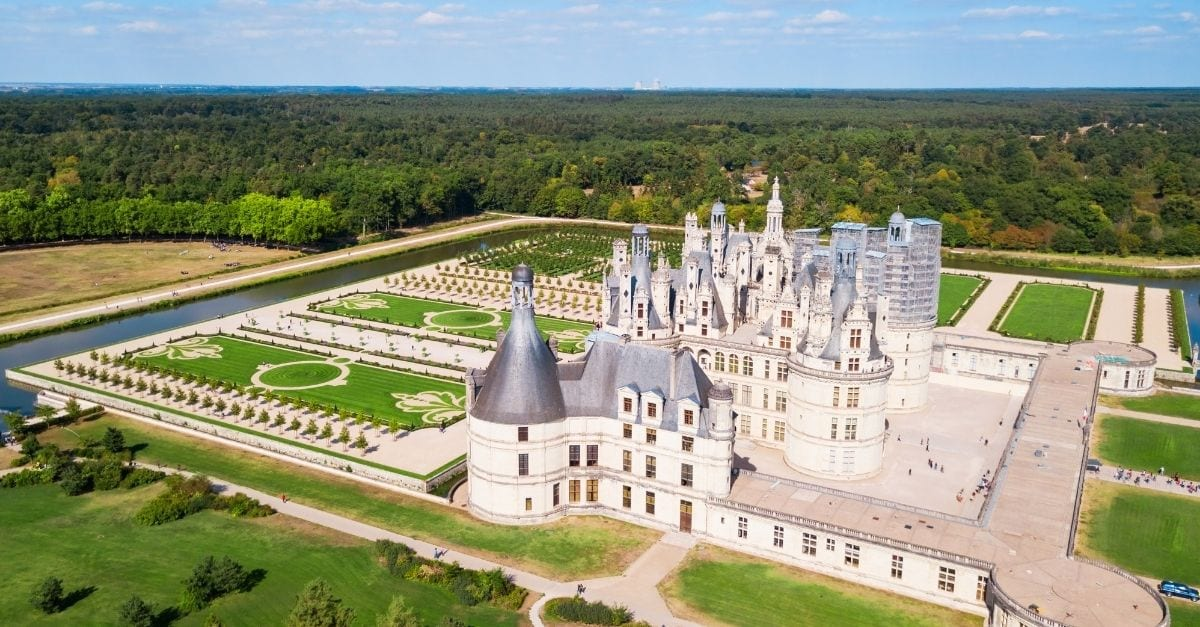 Aerial view of the Château de Chambord, in France.