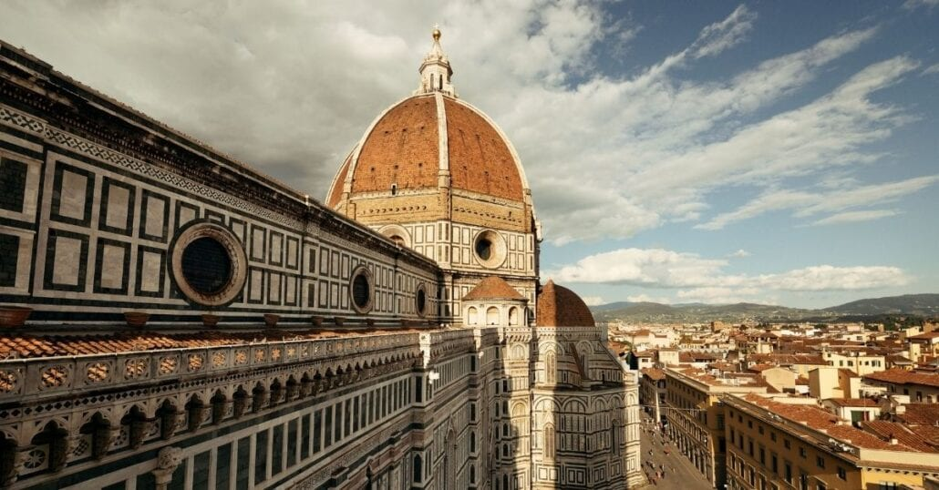 The Gothic-style Florence Cathedral, formally the Cattedrale di Santa Maria del Fiore, in Florence, Italy.