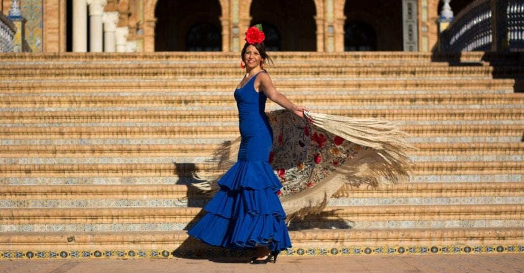 A flamenco dancer woman performing in Seville, Spaing.