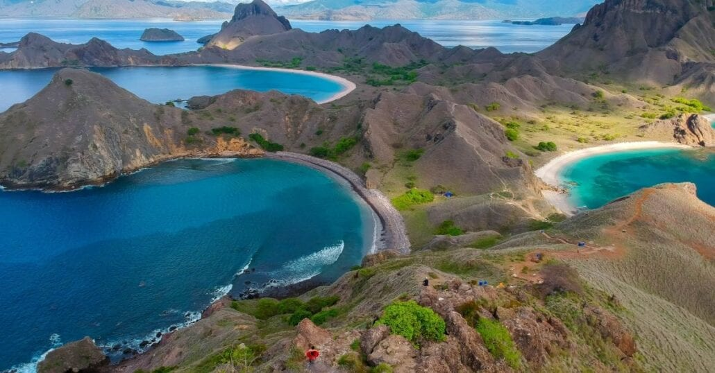 Aerial view of the Komodo National Park between the Indian and Pacific oceans, in Indonesia.