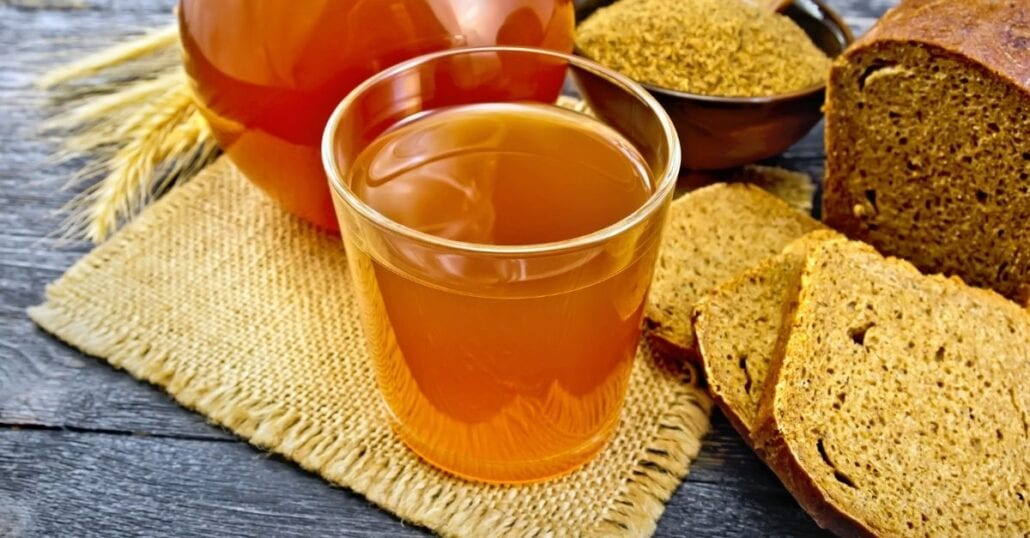 A glass of Kvass, the traditional brown bread Russian beer.