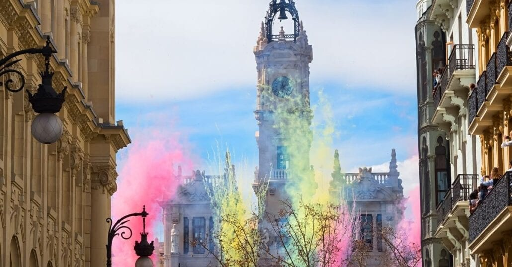 """The city of Valencia during the celebration of """"Falles"""", a traditional festival."""
