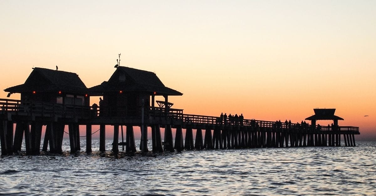 The Naples Pier during at dusk.