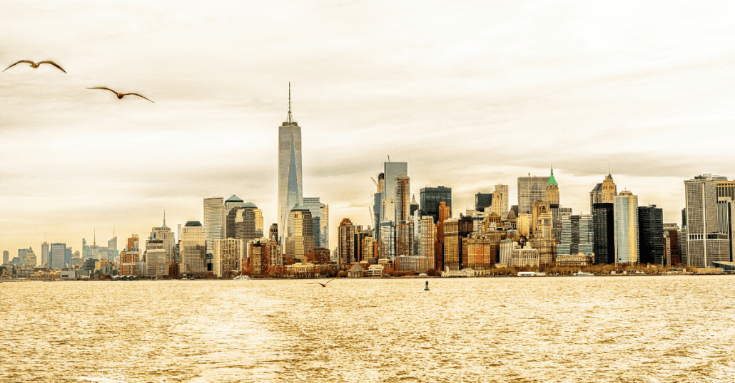 View of the New York City skyline from the Hudson River.