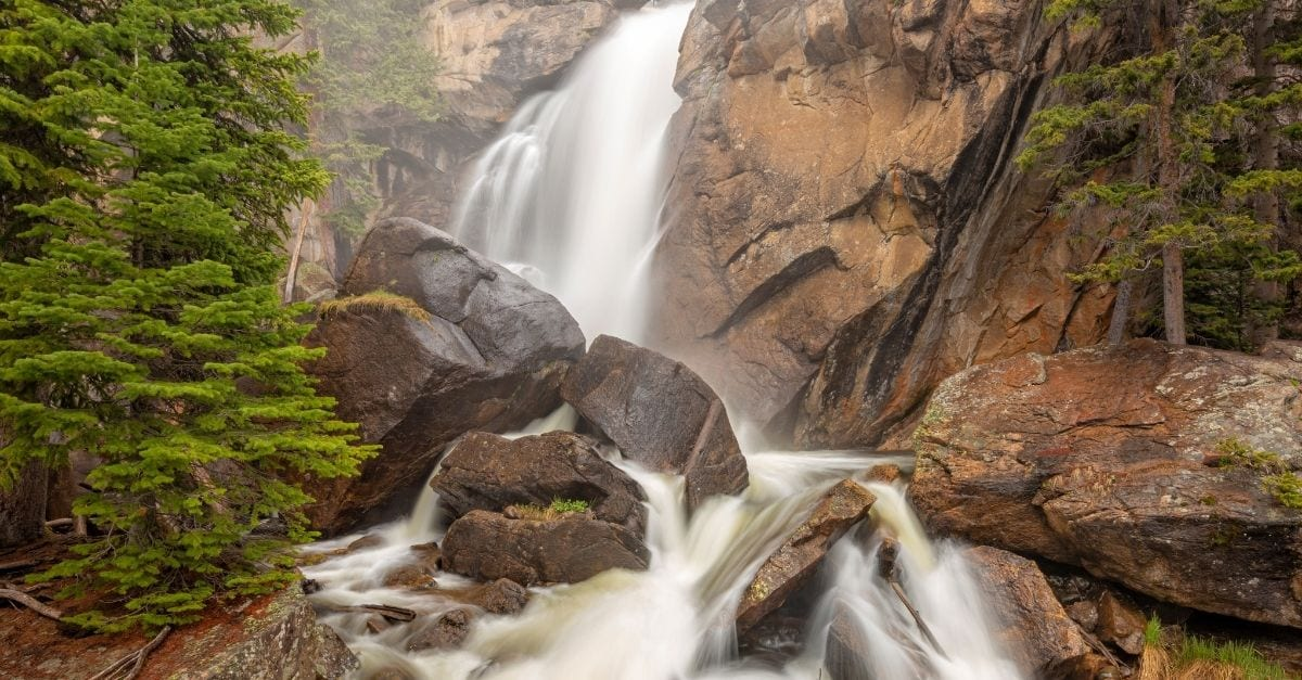 The Ouzel Falls, which is part of the Wild Basin Trailhead.
