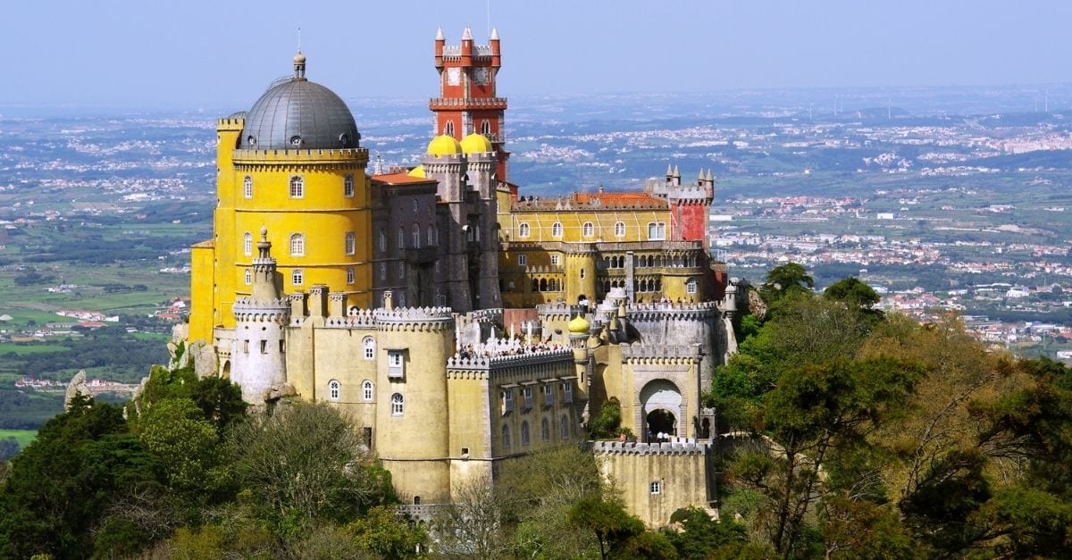 View of the colorful Pena Palace, in Sintra.