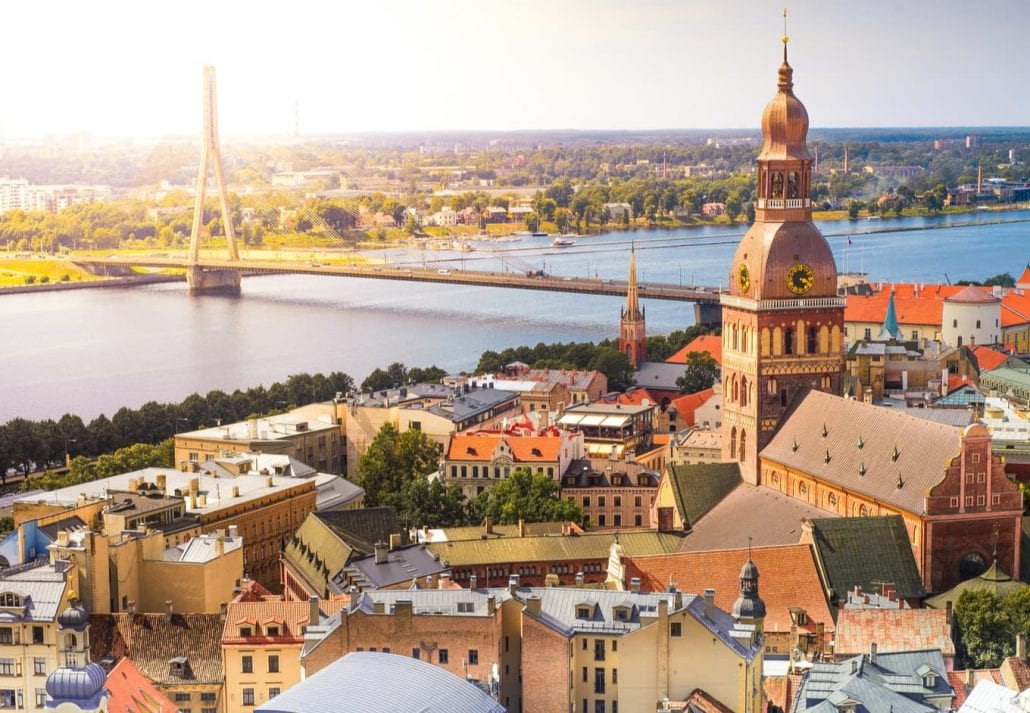 Panoramic view of the Riga cathedral in the old town of Riga, Latvia.