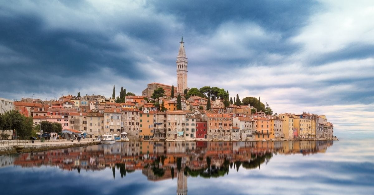 View of the historic buildings in the coastal city of Rovijn, in Croatia.