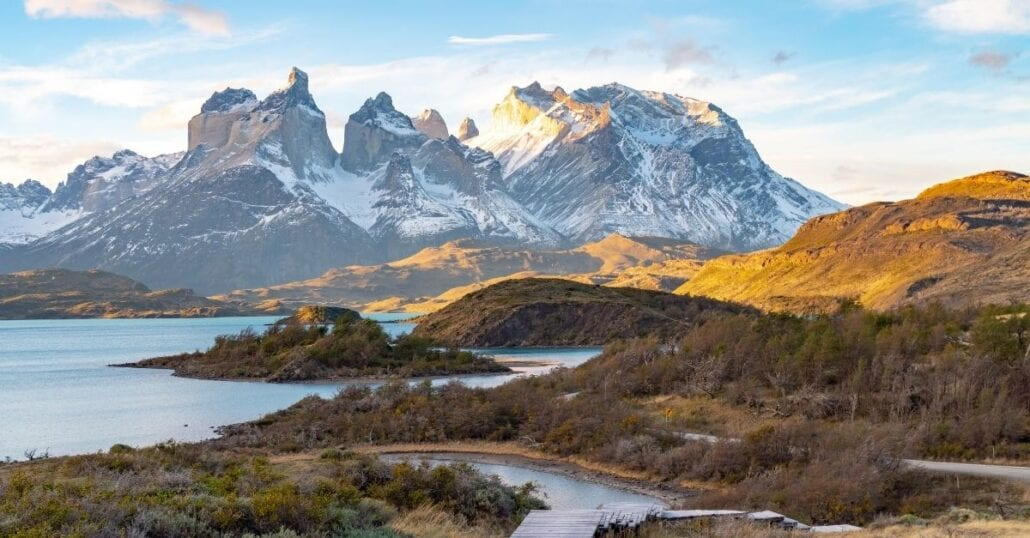 Mountainous day view of Torres Del Paine National Park, in Chile.