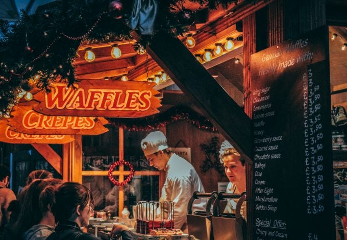 Waffles stall in Wroclaw during Christmas