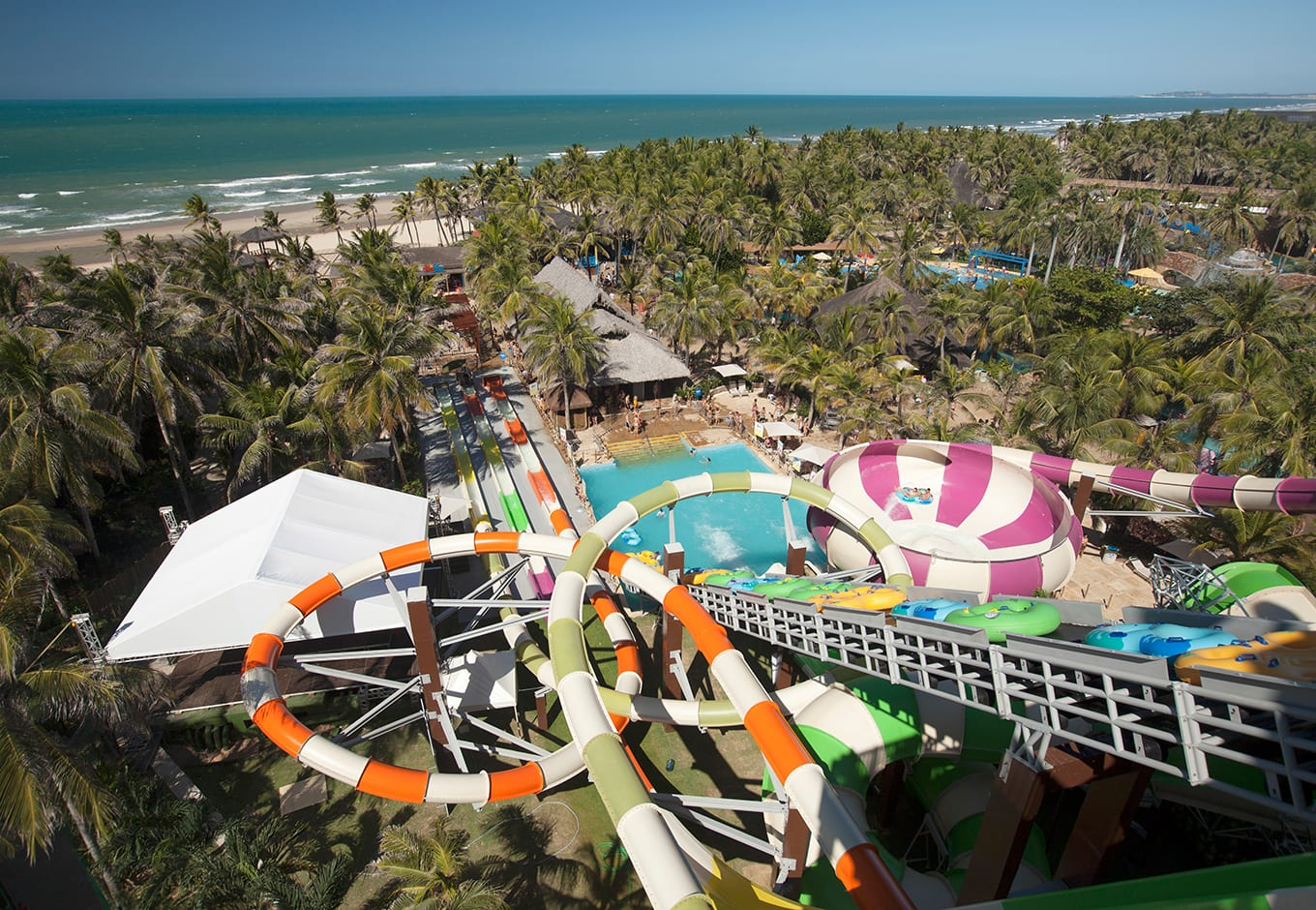 Aerial view of the waterslides at the Beach Park Fortaleza, Brazil.