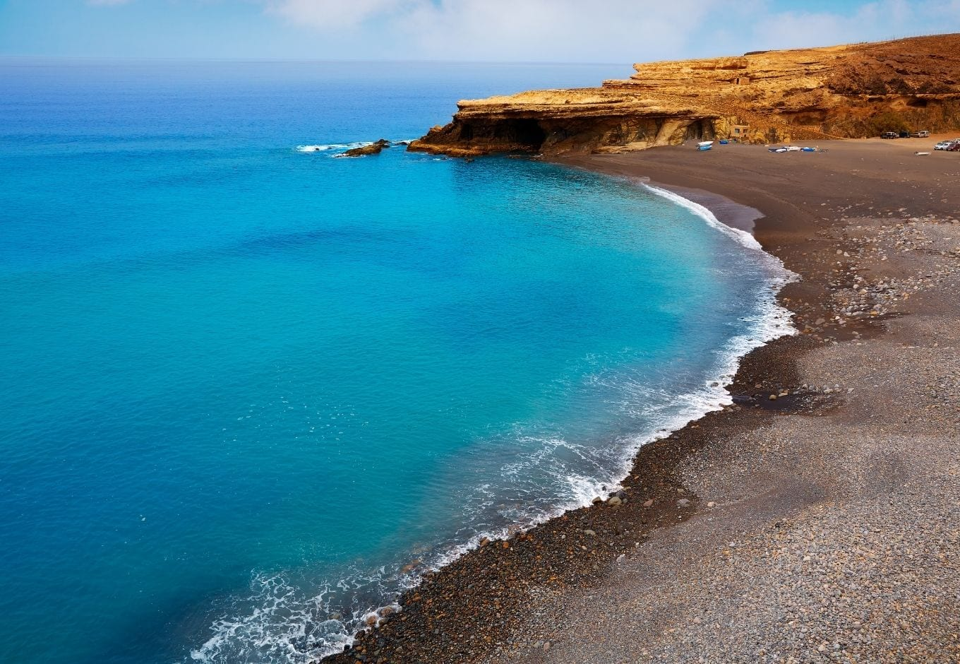 The turquoise-blue ocean in the Canary Islands, Spain.