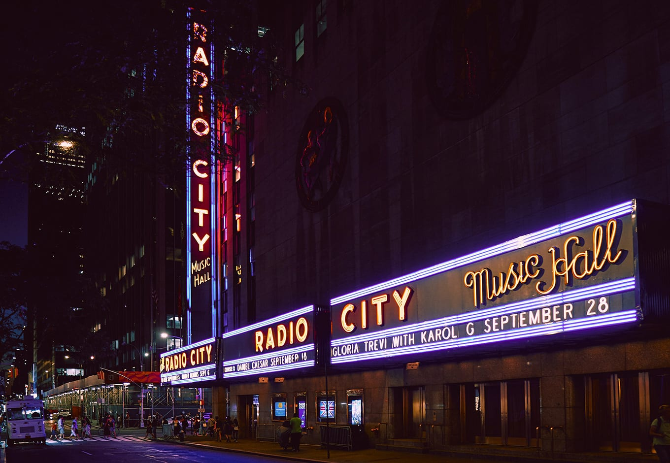 Radio City Music Hall with light display in Dec in NY