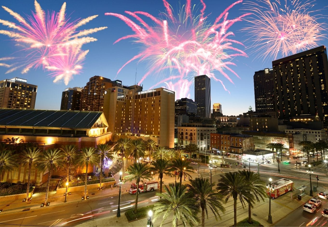 Fireworks in New Orleans, Louisiana.