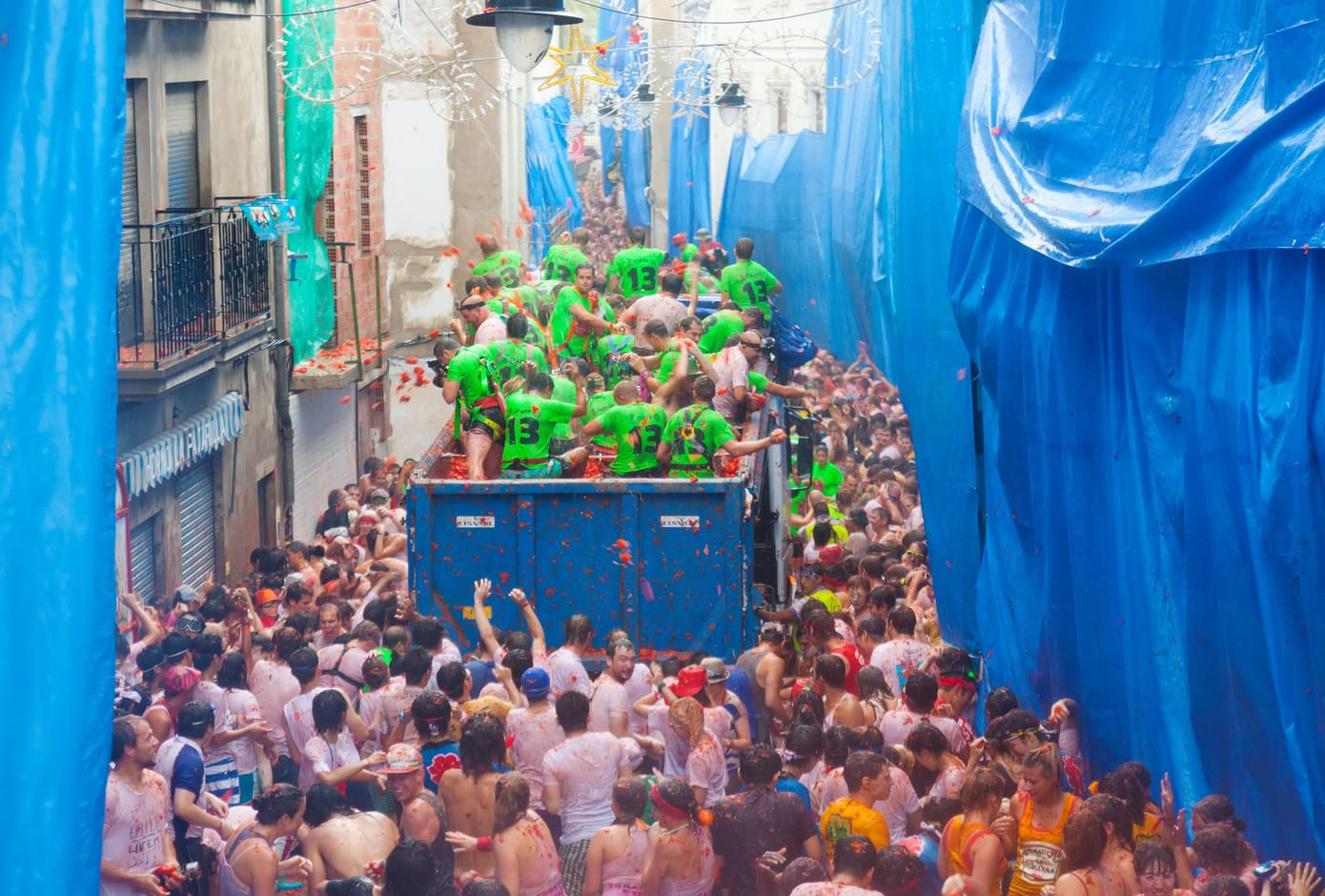 Battle of tomatoes during La Tomatina festival, in Spain.