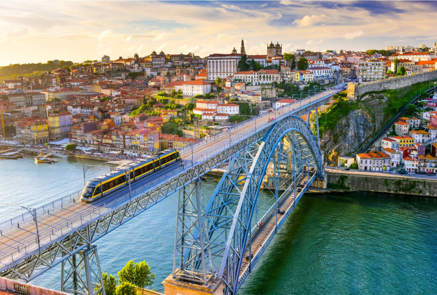 Aerial view of the Luís I Bridge, the Douro River, and the centre of Oporto.