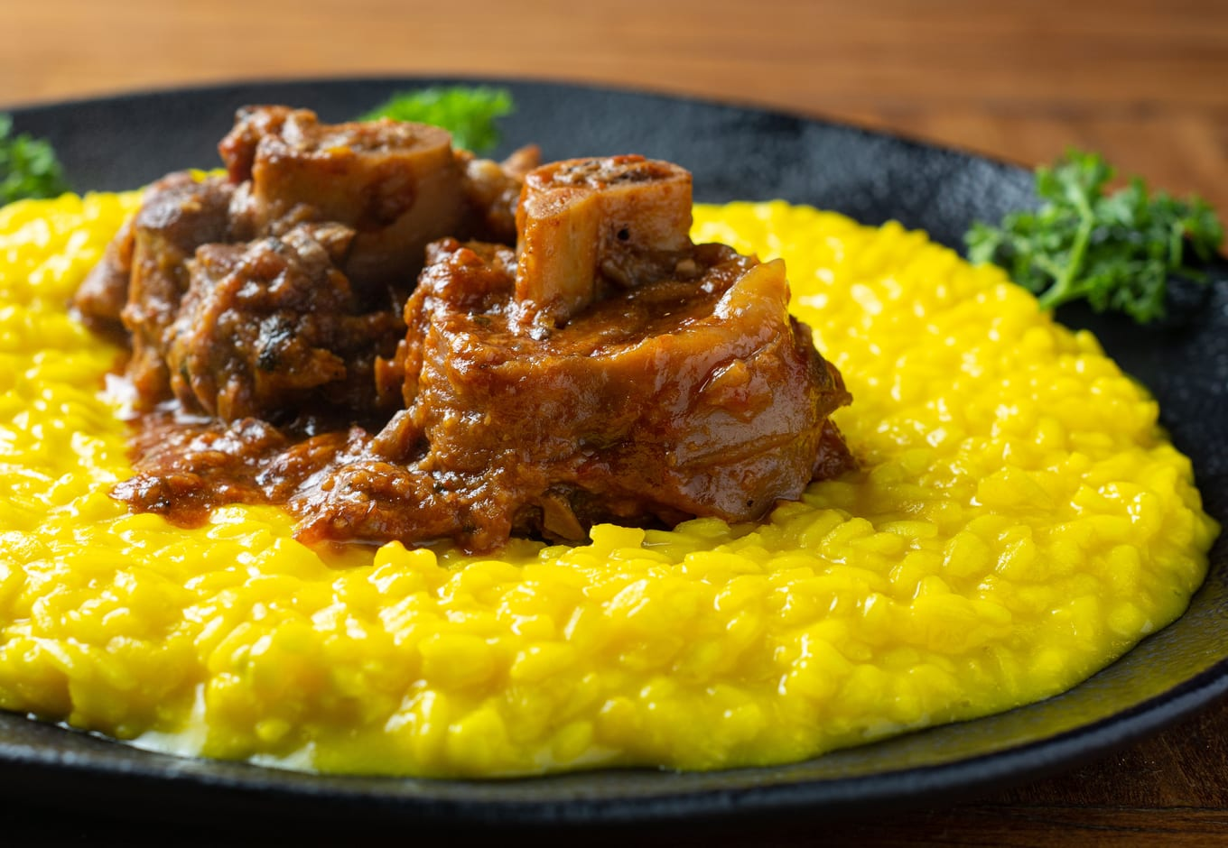 Risotto Alla Milanese served with ossobuco.