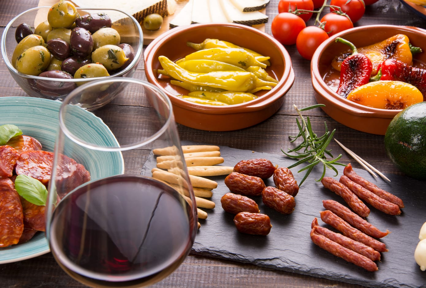 Spanish tapas starters on a  table
