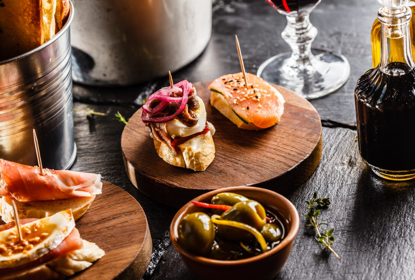 Spanish dinner with a variety of tapas.