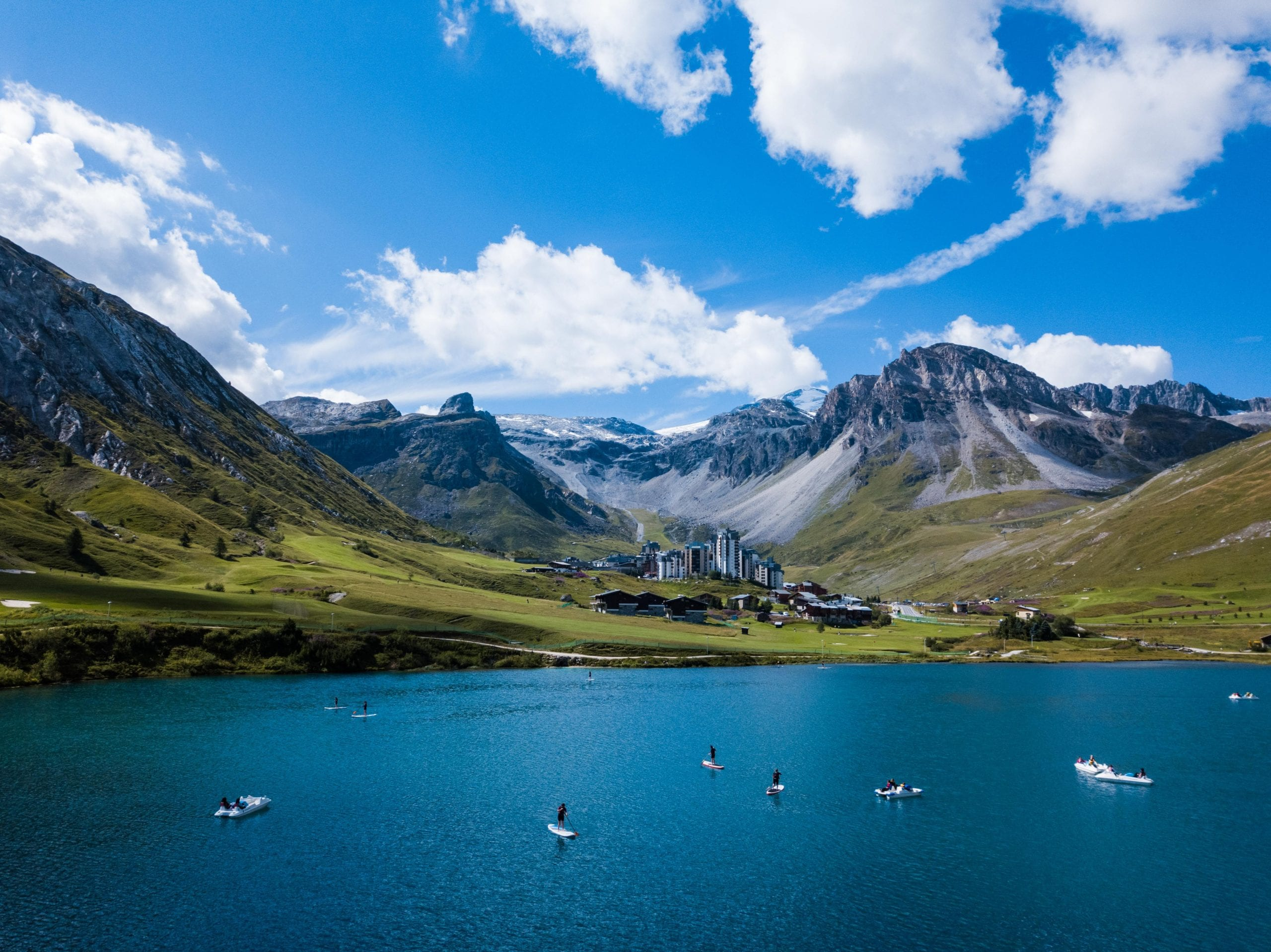 Tignes le Lac and the French Alps aerial view.