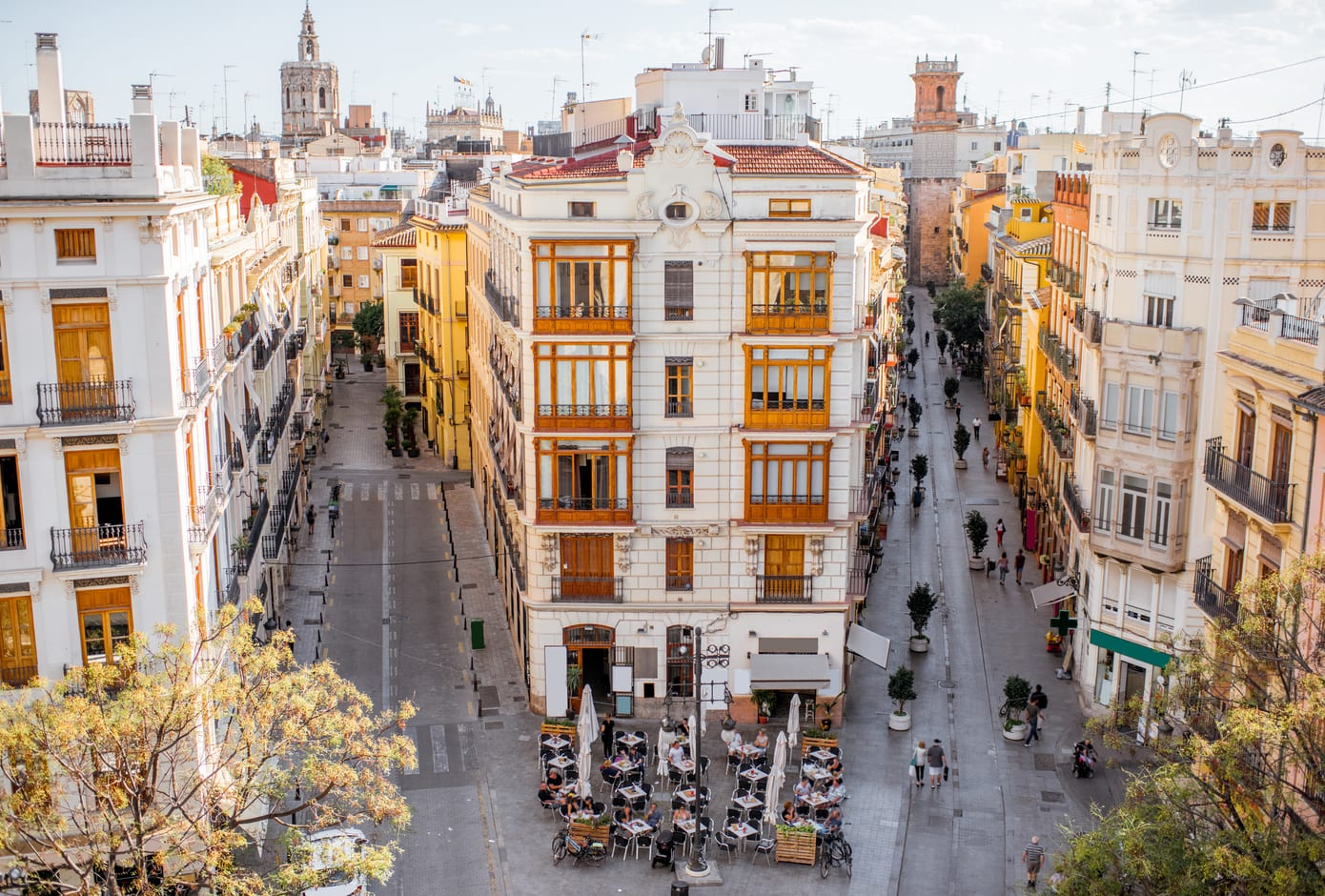 Aerial view from Serranos towers on the old town of Valencia, in Spain