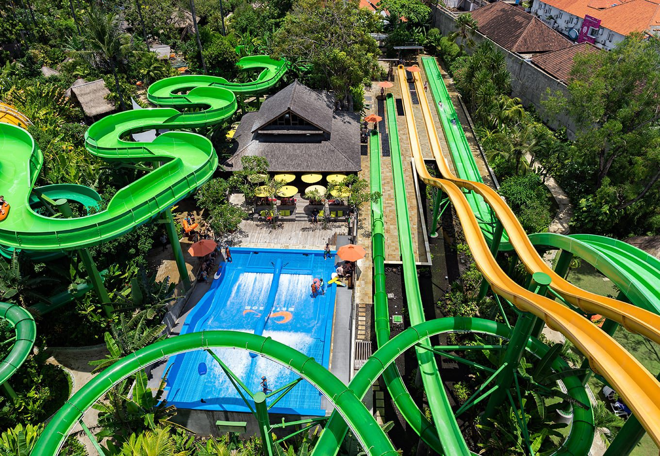 Aerial view of the waterslides at the Waterbom Bali, Indonesia.