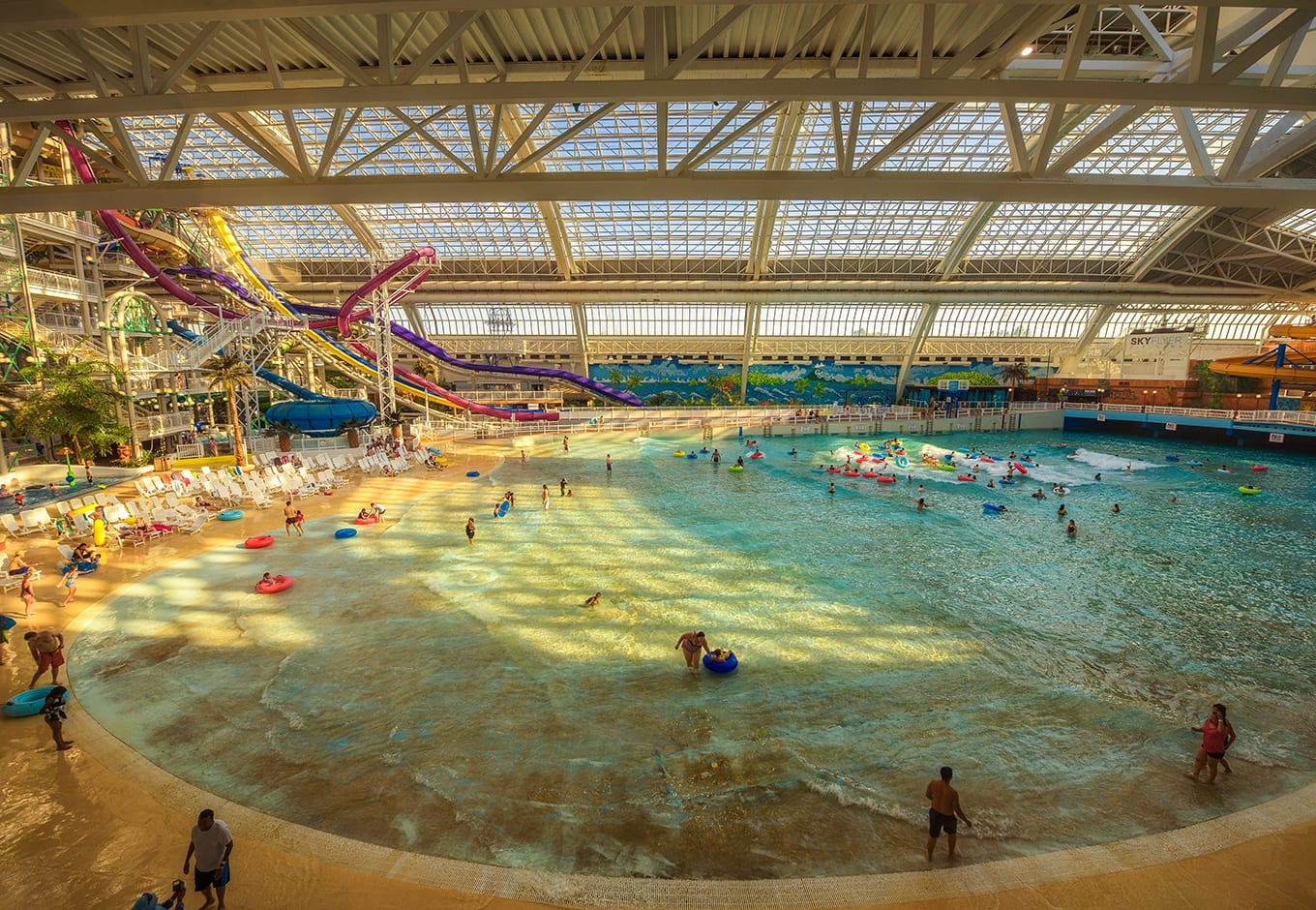 Colorful waterslides leading to a giant pool at the World Waterpark, in Canada.