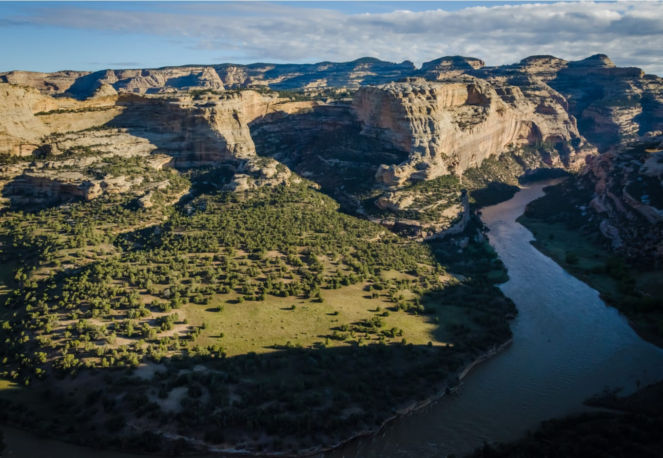 Aerial view of the Yampa River, in Colorado.