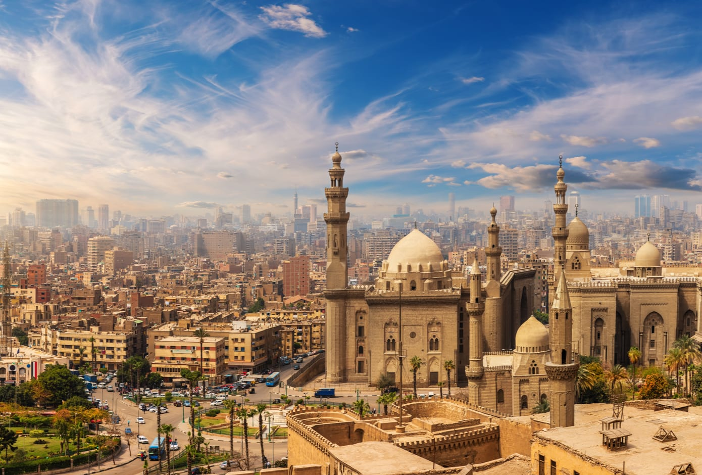 The Mosque-Madrasa of Sultan Hassan at sunset, Cairo Citadel, Egypt.