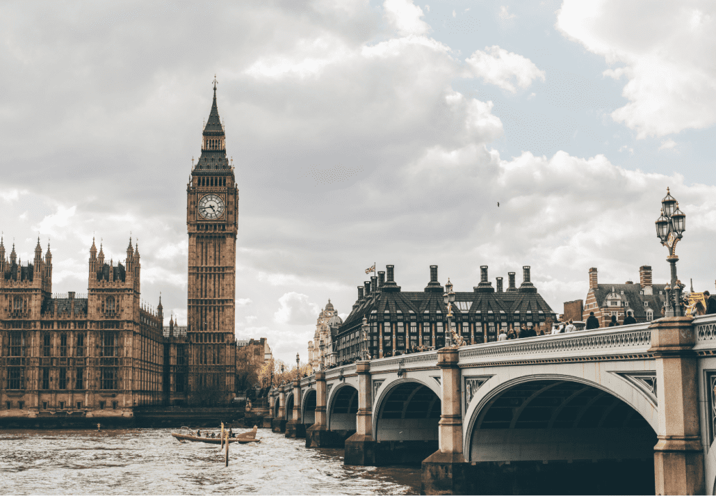 The Big Ben overlooking the River Thames, in London, England.