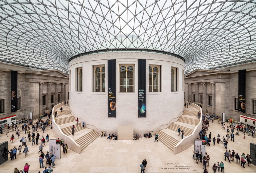 Tourists in the Great Court at the British Museum, in London.