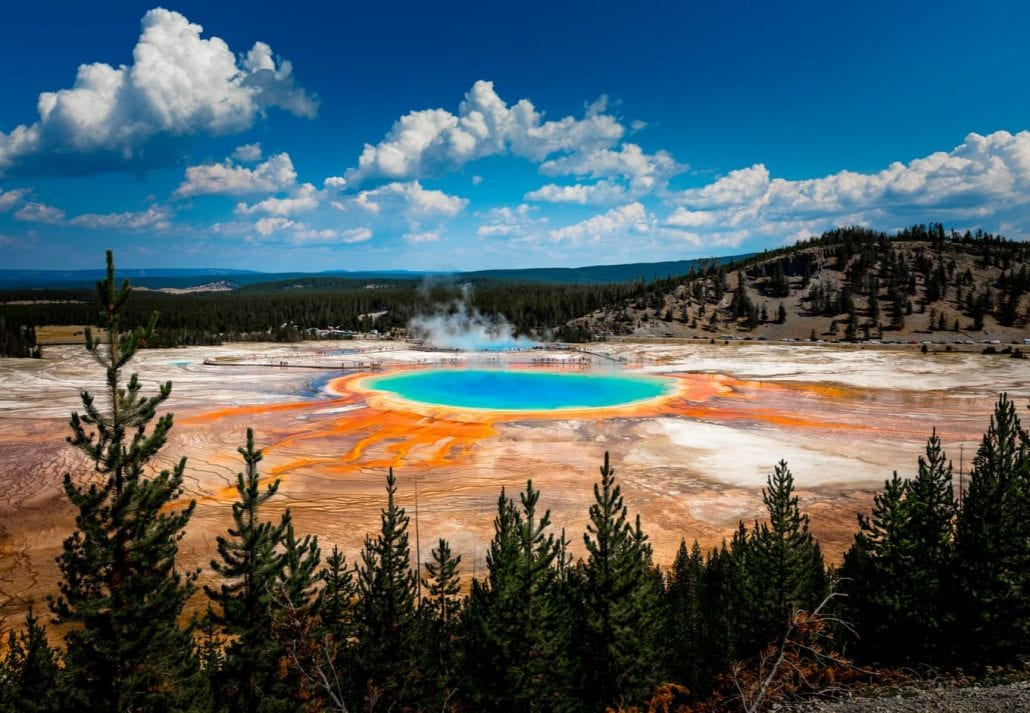 Grand Prismatic Spring seen in Yellowstone National Park.