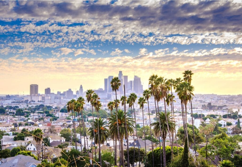 Los Angeles, California, USA downtown at sunset.