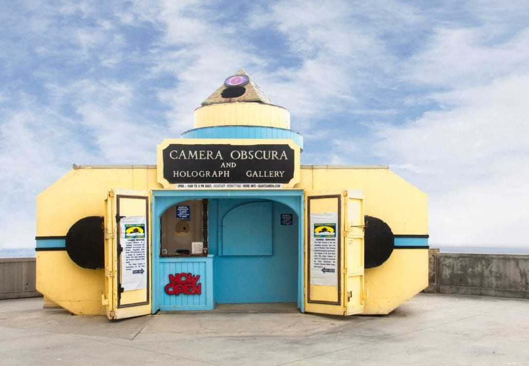 Giant Camera Obscura overlooking the Pacific Ocean in San Francisco, California.