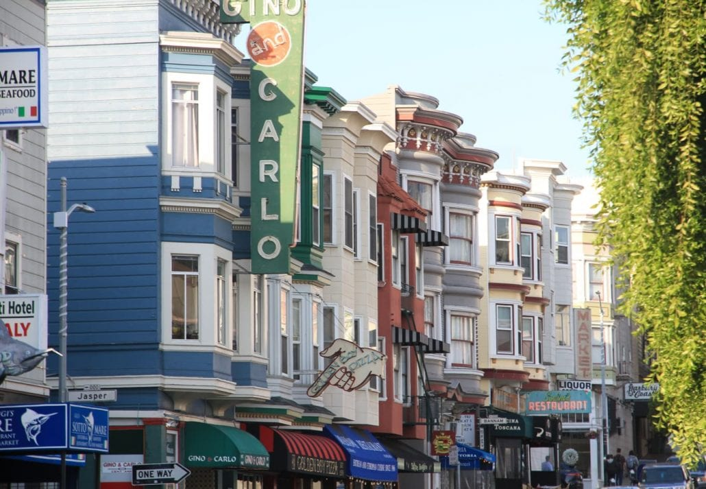 Victorian Houses and Restaurants in Little Italy, San Francisco, California.
