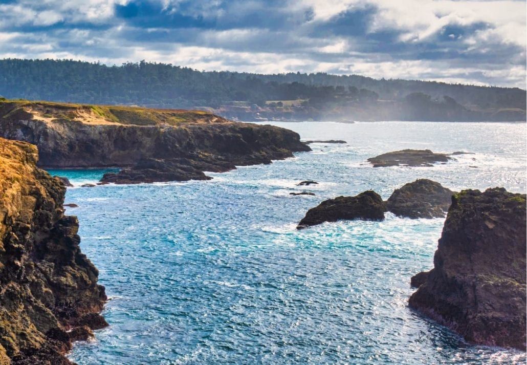 A majestic view of the bay cliffs and inlets of Mendocino and its rocks
