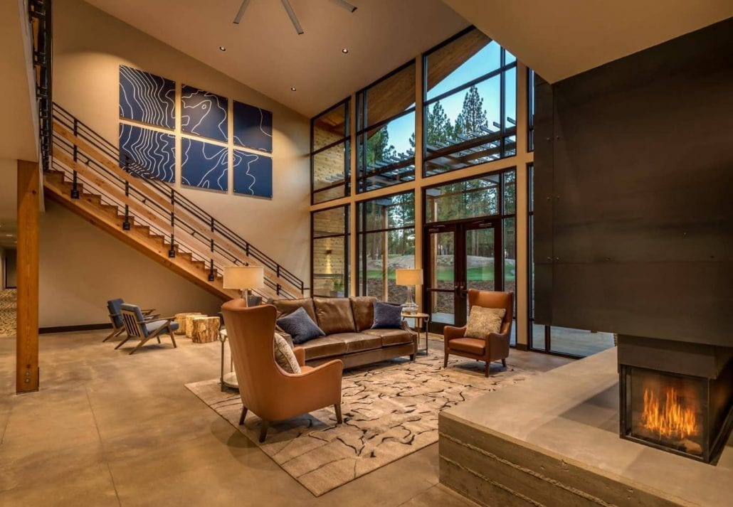The cozy lobby at Nakoma Resort, in Sierra Mountains, California.