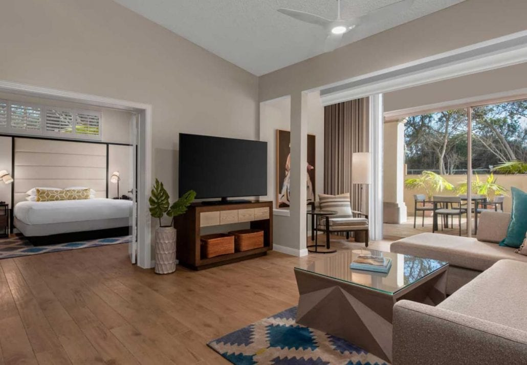 One of the suites at San Diego Mission Bay Resort, California.