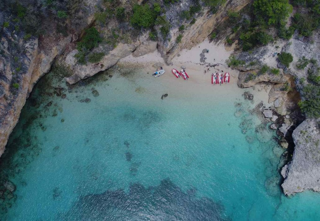 Beautiful bay with a transparent blue ocean in Anguilla.