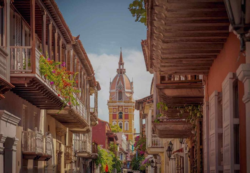 Part of the walled city of Cartagena, Colombia.